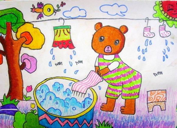 儿童水彩画《勤劳的小熊》