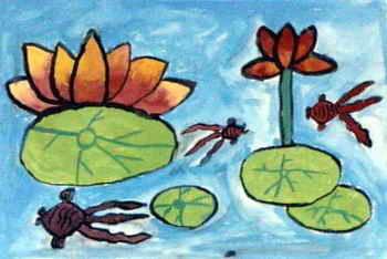 幼儿教育:水粉画《池塘》-中大网校儿童教育网