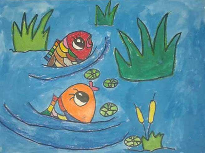 儿童水彩画《两条小鱼》