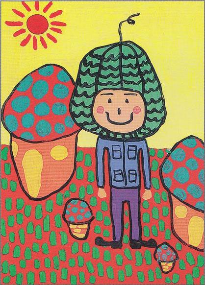 幼儿教育:装饰画《可爱的蘑菇房子》-中大网校儿童
