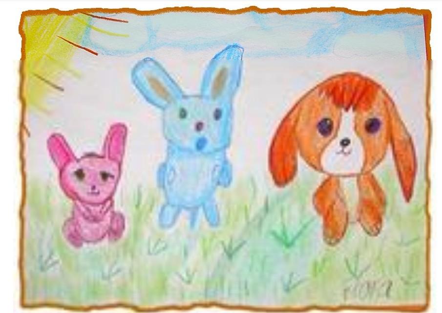幼儿教育:儿童油棒画《小白兔与小狗狗》-中大网校