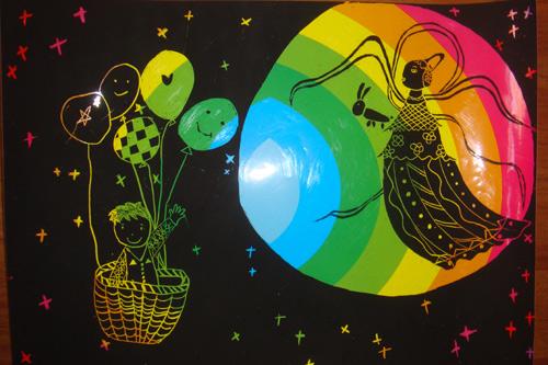 关于中秋节儿童画 中秋赏月;