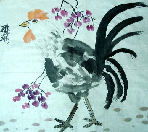 幼儿教育:中国风儿童画《雄赳赳的大公鸡》-中大网校