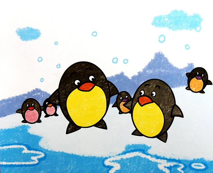 儿童油棒画《小企鹅怎样画》