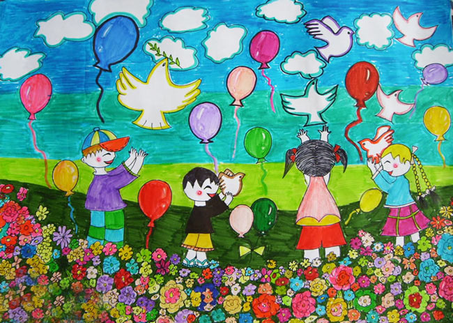 儿童水彩画《欢庆大自然的美丽儿童水彩笔画范画》