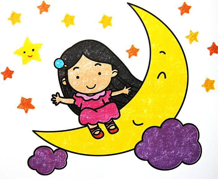 幼儿教育:儿童油棒画《月牙上的小女孩》-中大网校