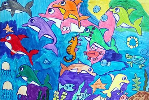 兒童畫作品:海底動物聚會; 兒童畫彩筆畫作品:海底動物聚會; 海底動物