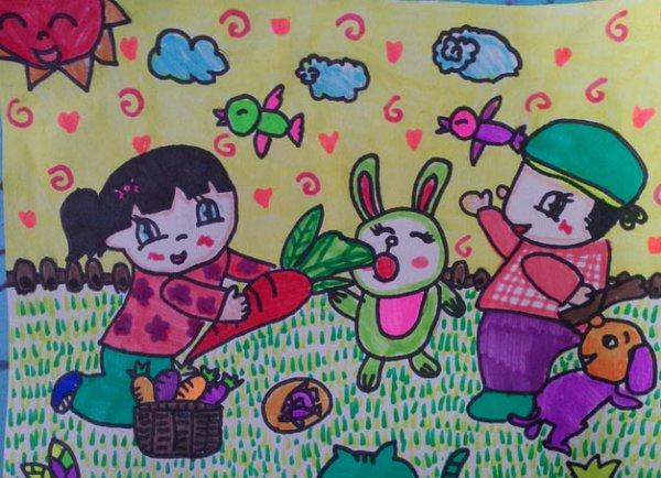 幼儿教育:儿童水彩画《爱护小动物》-中大网校儿童