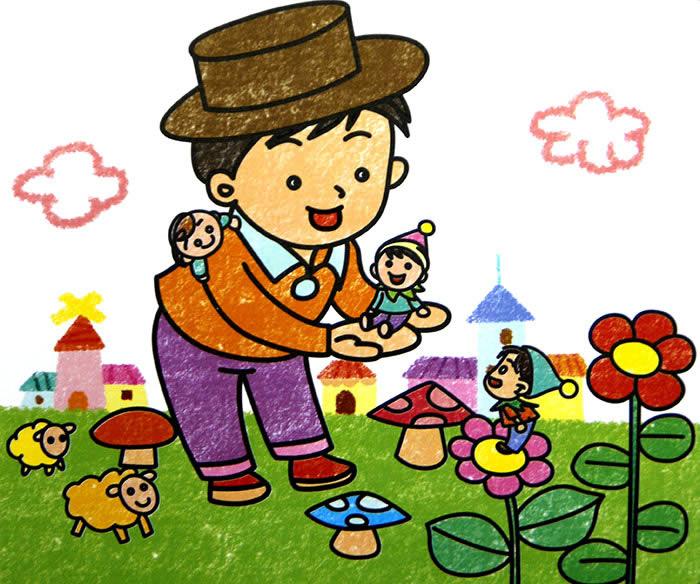 儿童油棒画《可爱的小人国》