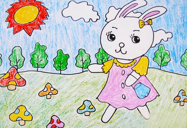 幼儿教育:儿童水彩画《可爱的兔姑娘》-中大网校儿童