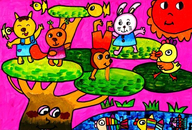 儿童油棒画《快乐动物世界》