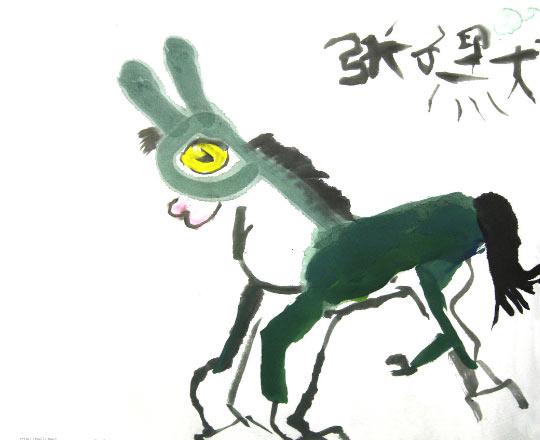 中国风儿童画《可爱的小毛驴》