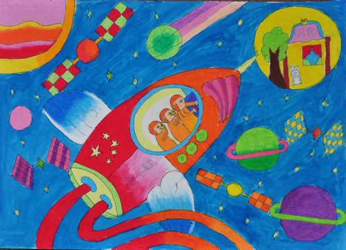 幼儿教育:儿童科幻画《遨游太空》-中大网校儿童教育