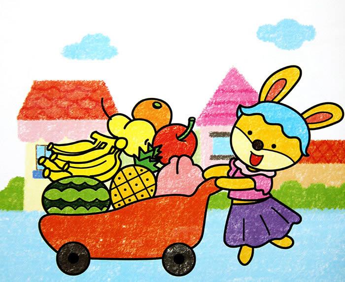 儿童油棒画《水果车》图片