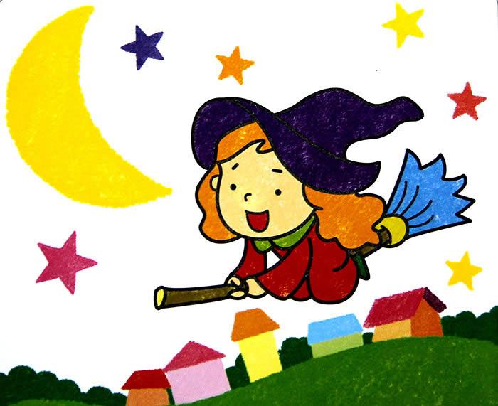 儿童油棒画《可爱小女巫》