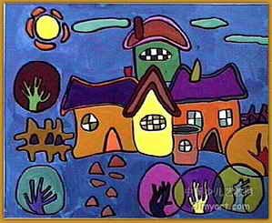 《家》简笔画_《家》图片欣赏; 装饰画-《家》; 书房画  儿童房画图片