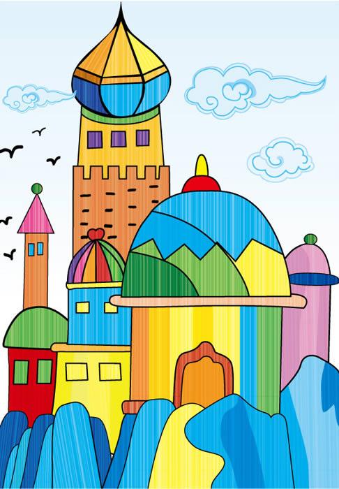 儿童水彩画《童话城堡》