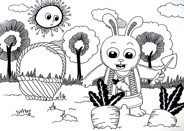 线描《小兔子拔萝卜》
