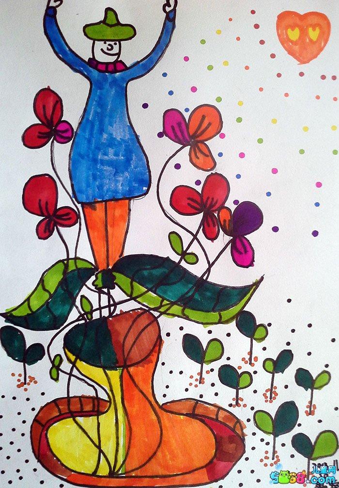 儿童水彩画《优秀儿童水彩画作品-看看我最高》