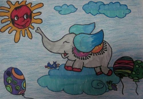 儿童水彩画《可爱的飞天象儿童水彩画作品图片》
