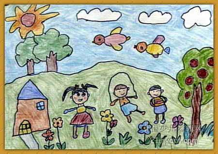 幼儿教育:儿童水彩画《《美丽的春天》》-中大网校