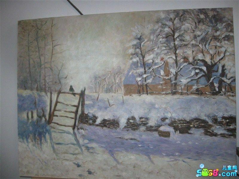 儿童水彩画《儿童画雪景图片大全-白雪皑皑》