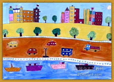 幼儿教育:儿童水彩画《《心中的城市》》-中大网校