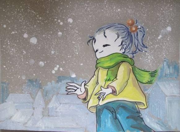 儿童水彩画《冬天的小女孩》图片