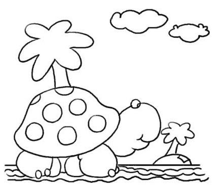 海龟儿童线描画-海边卡通梦幻风车简笔画