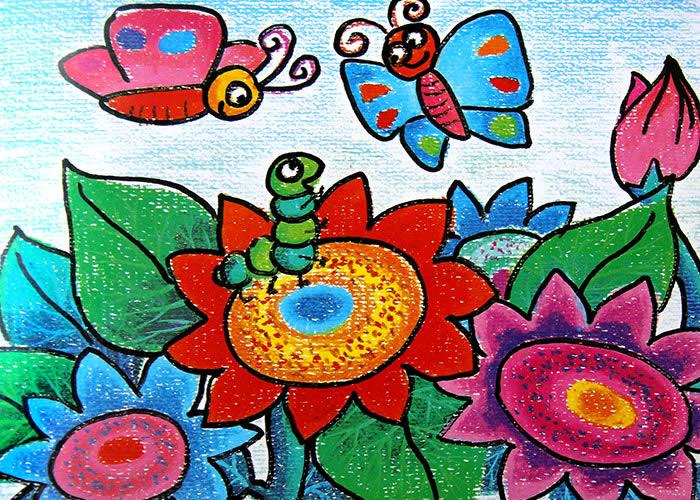 儿童油画棒画欣赏:蜜蜂采蜜; 小蝴蝶 儿童蜡笔画作品 儿童画; 漂亮的