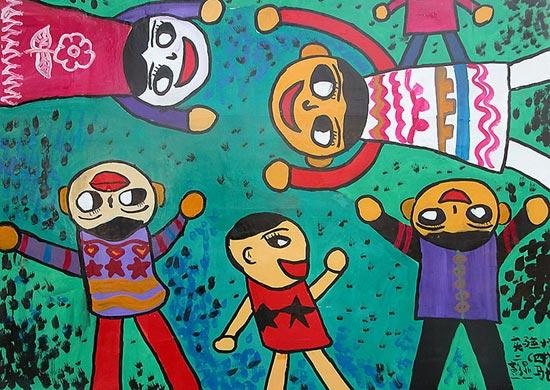 幼儿教育:儿童水彩画《我和我的小伙伴们》-中大网校