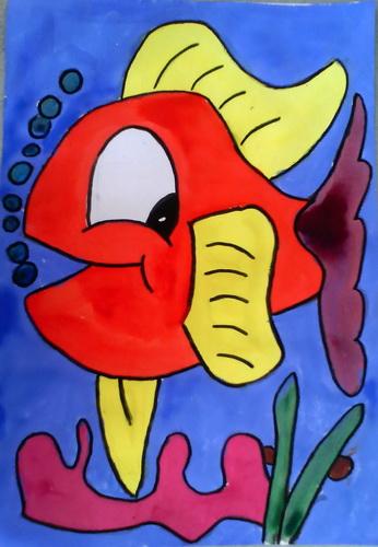 水粉画《小鱼水中游》