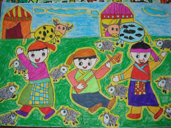 幼儿教育:儿童水彩画《少数民族别样风情》-中大网校
