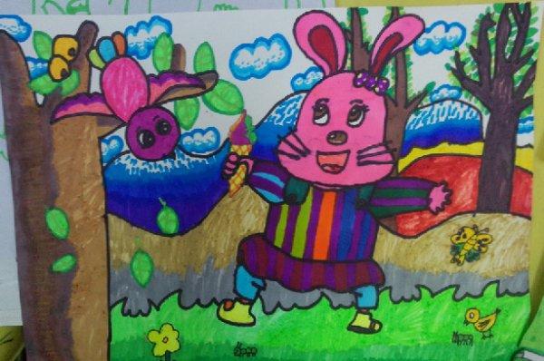儿童水彩画《小兔子和小鸟是好朋友》