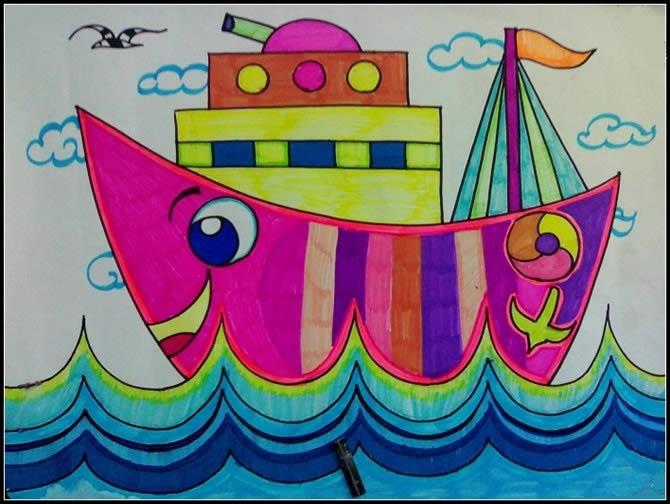 儿童版画《月亮轮船》