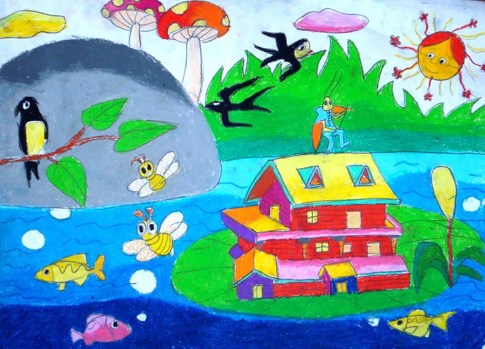 儿童水彩画《春天来了》图片