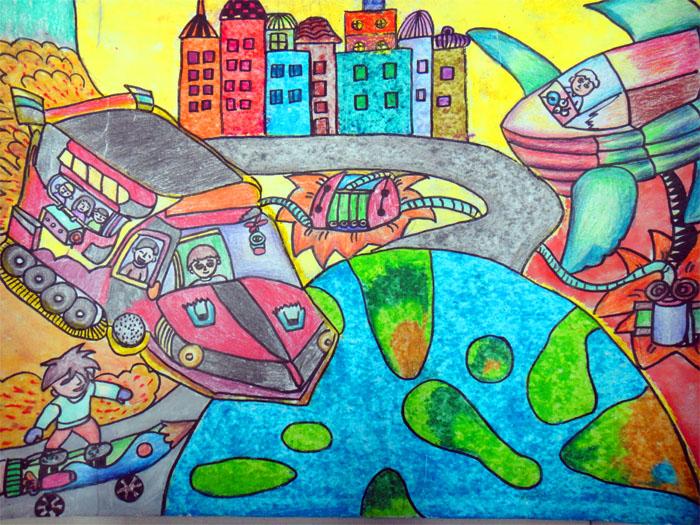 幼儿教育:儿童科幻画《环保的水陆两栖车》-中大网校