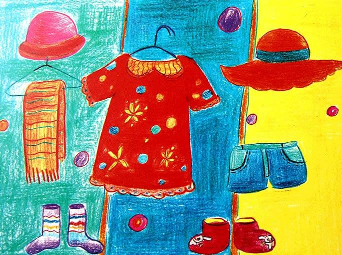 幼儿教育:儿童水彩画《漂亮的衣帽间》-中大网校儿童