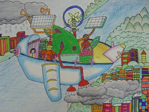 低碳环保主题儿童画_绿色环保的科幻画_绿色环保的科幻画高清图片