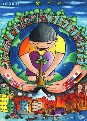 儿童水彩画《保护地球》
