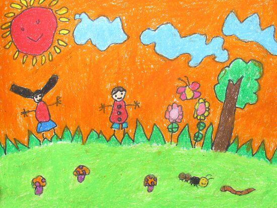 幼儿教育:儿童水彩画《拥抱春天》-中大网校儿童教育网