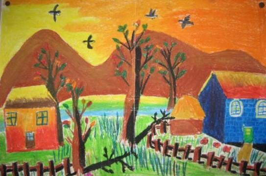 幼儿教育:儿童水彩画《家乡的傍晚》-中大网校儿童