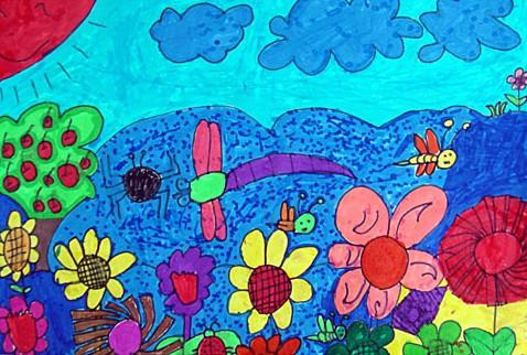 儿童水彩画《午后花园》
