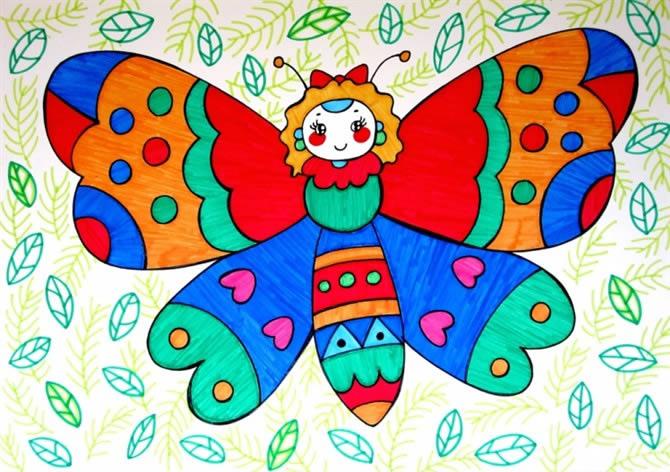 儿童油棒画《美丽的花蝴蝶》