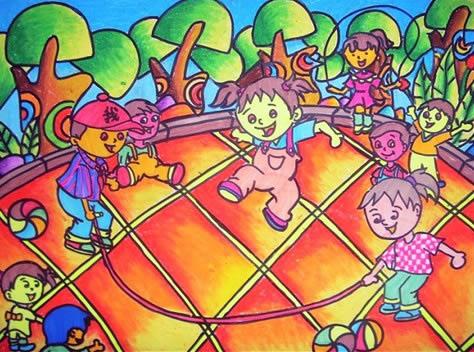 幼儿教育:儿童水彩画《和小伙伴一起玩》-中大网校