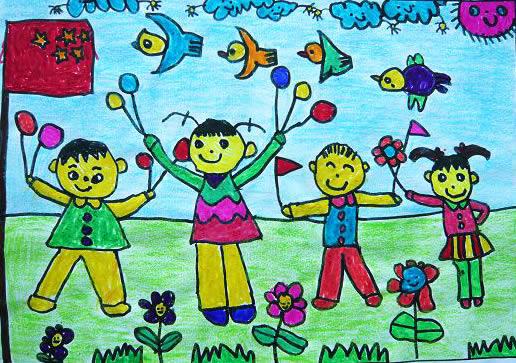 幼儿教育:儿童油棒画《升国旗》-中大网校儿童教育网