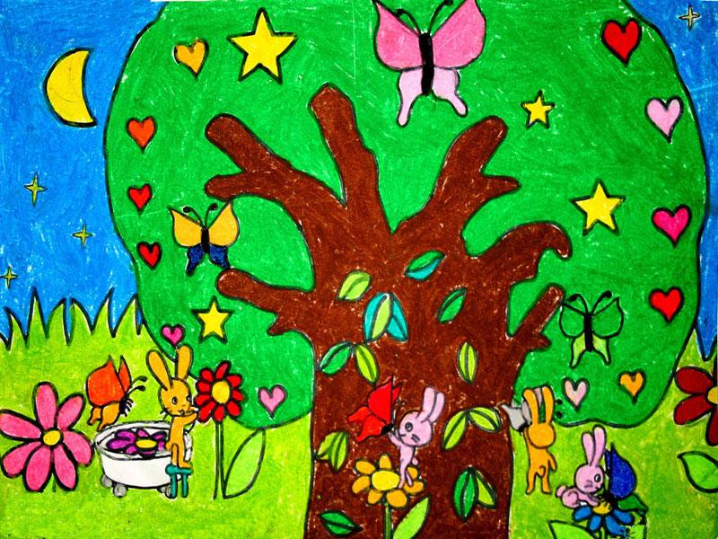 幼儿教育:儿童油棒画《兔子一家》-中大网校儿童教
