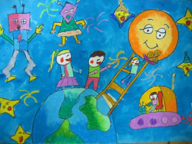 幼儿教育:儿童水彩画《送给月亮的月饼》-中大网校