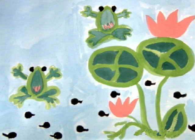幼儿教育:水粉画《青蛙与蝌蚪》-中大网校儿童教育网