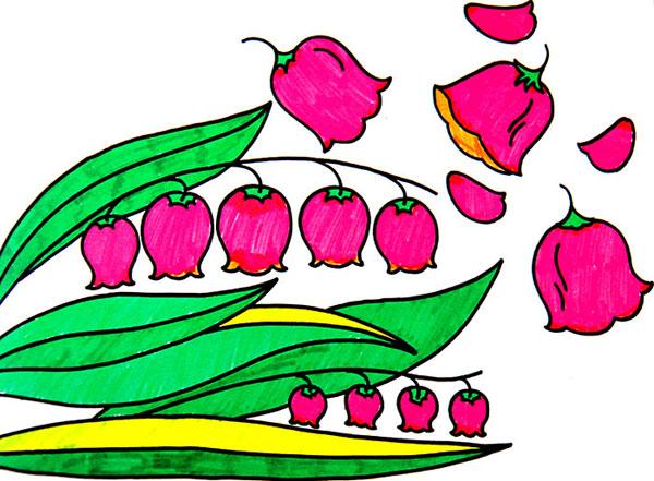 儿童水彩画《美丽的铃兰花优秀儿童水彩画作品》